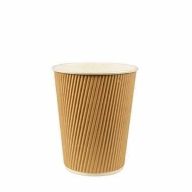 100x duurzame kartonnen koffiebekers/drinkbekers 200ml bruin