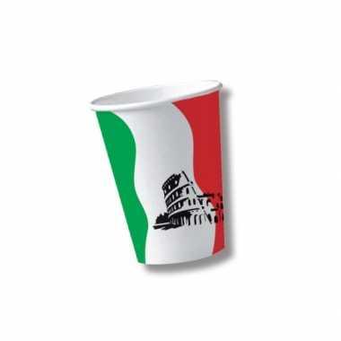 10x stuks italie thema wegwerp bekers/bekertjes