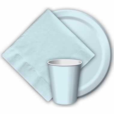 16x lichtblauwe papieren feest bekertjes 256 ml