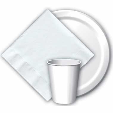 16x witte papieren feest bekertjes 256 ml