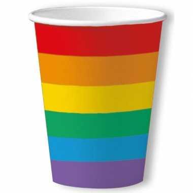 30x gay pride thema bekertjes regenboog 200 ml