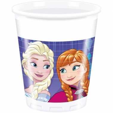 8x frozen blauw/paars themafeest bekers 200 ml
