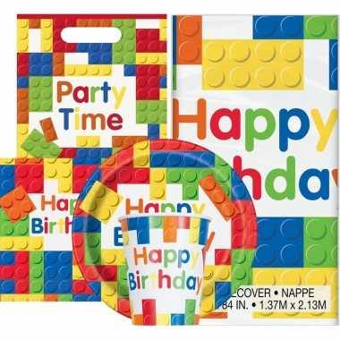 Bouwstenen thema kinderfeestje versiering pakket 2-8 personen