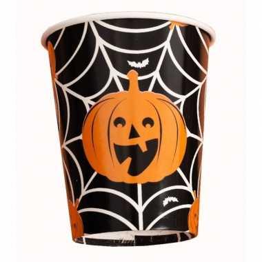 Halloween - 10x halloween pompoen bekers