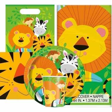 Jungle thema kinderfeestje versiering pakket 9-16 personen