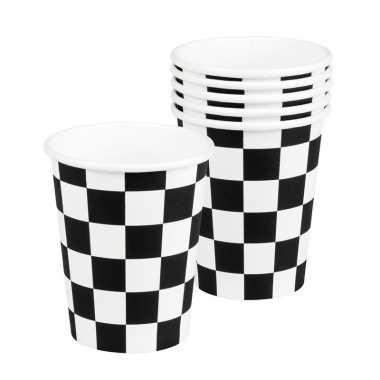 Papieren bekers race thema finish zwart/wit geblokt 12 stuks