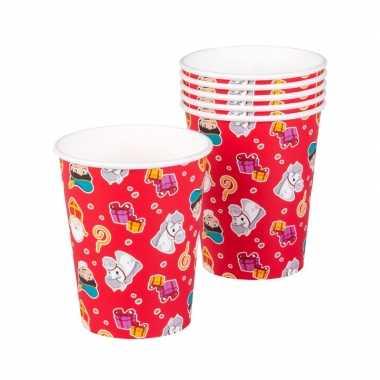Set van 12x papieren wegwerp drinkbekers sint en piet print 250 ml