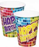 6x stuks happy birthday thema verjaardag bekertjes van papier