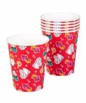 Set van 6x papieren wegwerp drinkbekers sint en piet print 250 ml